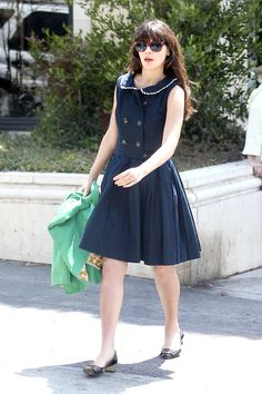 Lovely Navy dress. I love navy blue!Zooey Deschanel