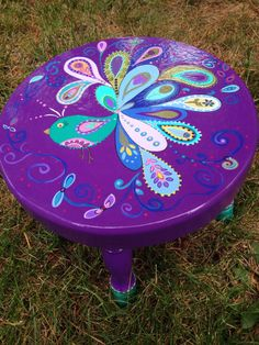 BoHo Baby Peacock Stool by BoHoExpressions on Etsy Whimsical Painted Furniture, Hand Painted Furniture, Funky Furniture, Art Furniture, Colorful Furniture, Furniture Makeover, Painted Stools, Deco Boheme, Boho Baby