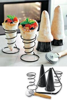 Pizza Cones offer a new twist on making pizza. This is for the pizza cone kits. Cooking Gadgets, Kitchen Gadgets, Cooking Tips, Pizza Cones, How To Make Pizza, Cool Kitchens, Nom Nom, Food Porn, Food And Drink