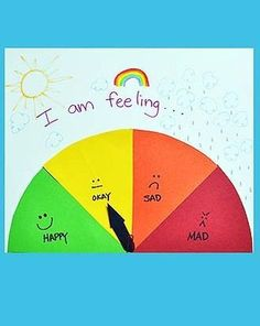 "Make a color coded ""mood meter"" with your kindergartener to help her recognize and tell her feelings while building reading and writing skills."