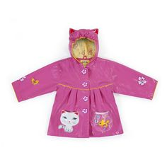 Irresistible and eye-catching, these stylish, upscale coats are the core of a Kidorable ensemble. Cat all-weather raincoat for your little girl. It is more than just a raincoat, it can be worn every day, all spring, summer and fall. Featuring an enchantin
