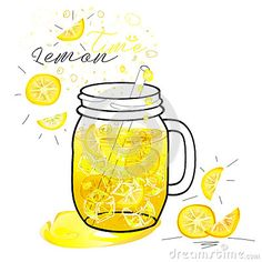 Cold lemon drink in mason jar