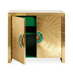 Our beloved Talitha Cabinet gets a Midas and malachite makeover.Sheets of solid brass are hand-stamped into minimalist, modernist patterns r Small Dresser, Console Cabinet, Sideboard, Wall Mounted Mirror, Jonathan Adler, Green Satin, Mid Century Modern Furniture, Wood Cabinets, Adjustable Shelving