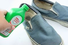 It's always a good idea to clean/disinfect even your brand new shoes. And here's how to do it! Also note that you can take a pair of panty hose and fill it will baking soda and put it in the shoes to remove any dampness (i.e. after Lysoling the shoes) I think a pair of socks would also work as well as panty hose.