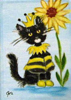 Original Folk Art Cat ACEO ~ CHIN CHIN #2 ~ HALLOWEEN COSTUME PARADE - GCL | eBay
