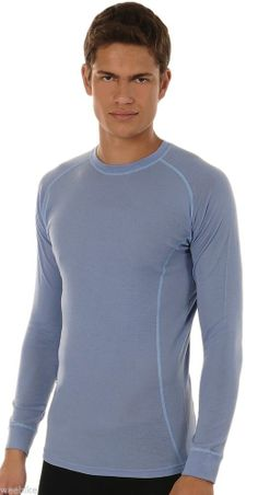 Hasyun Mens 100% Merino Wool LONG SLEEVE Base Layer All Sizes BLUE