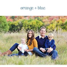 Whimsy Place: Family Picture. Like the blue, orange & neutral palette.