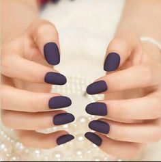 Matte False Nails Fake Nails Tips Full Cover Classic Noble Scrub Oval for Manicure Acrylic French Short Nail Art Professional DIY Solid - Beauty Nails Hair And Nails, My Nails, Short Nails Art, Short Fake Nails, Round Nails, Oval Nails, Matte Nails, Acrylic Nails, Dark Nails