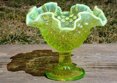 Vintage Hobnail Vaseline Glass Compote by SecondHandTheatre, $45.00