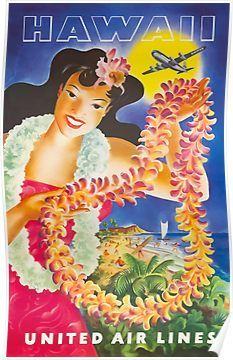 United Airlines Hawaii poster on sale at theposterdepot. Poster sizes for all occasions. Always Fast secure shipping from USA seller. United Airlines Hawaii Poster for sale. Hawaiian Girls, Hawaiian Art, Vintage Hawaiian, Aloha Vintage, Hawaiian Woman, Hawaiian Decor, Vintage Poster, Vintage Travel Posters, Vintage Postcards
