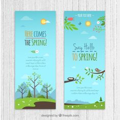 Countryside banners pack Free Vector