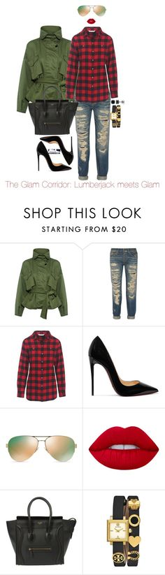 """""""Lumberjack meets Glam"""" by theglamcorridor ❤ liked on Polyvore featuring Marissa Webb, R13, Woolrich, Christian Louboutin, Tory Burch and Lime Crime"""
