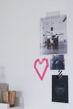 Hanging up photographs or mantras by bathroom wall floating shelf with washi tape - either asymmetrical like this or symetrical similar in square format