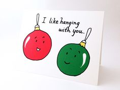 Cute Best Friend Christmas Card // Punny Holiday Love Card // Witty Friendship Card // Funny Christmas Ornaments // I Like Hanging With You - Diy cards Funny Christmas Ornaments, Cute Christmas Cards, Funny Christmas Gifts, Christmas Crafts, Christmas Ecards, Holiday Puns, Funny Christmas Quotes, Christmas Decorations, Best Friend Christmas Gifts