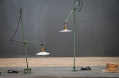 USA, Early 1900s, Vintage Industrial OC White Articulated Machinist Workshop Lights.  http://lnk.al/3SQQ