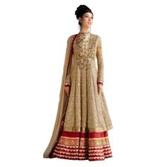 imaginative Beige Net Anarkali Suit comes with Santoon Bottom, Beige Color Nazneen Dupatta and Santoon Inner.It contained the work of Embroidery with lace border.The Salwar Suits Which can be customzied up to bust size 44