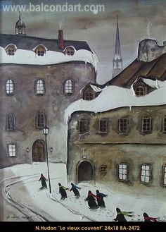 Original mixed media painting by Normand Hudon. Available at Le Balcon d'Art, St-Lambert Qc Canada New BOOK available November 9 2014 #hudon #art #caricaturist #streetview #winterscene #mixedmedia #canadianartist #quebecartist #originalpainting #balcondart #multiartltee