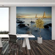 Interior decorado con Fotomutal Standard MTB SAILING THE OCEAN 129, imagen de barcos navegando al amanecer en un frío mar.