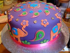 Bollywood cake - like the colors and the elephants Bollywood Cake, Bollywood Party, Indian Cake, Indian Wedding Cakes, Big Cakes, Cute Cakes, Bollywood Baby Shower, Elephant Birthday Cakes, Hen Party Cakes