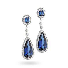 Blue CZ Teardrop Y Necklace Earring Set Simulated Sapphire Silver Sapphire Earrings, Blue Earrings, Teardrop Earrings, Gemstone Earrings, Dangle Earrings, Star Earrings, Bling Jewelry, Bridal Jewelry, Jewelry Box