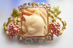 Vintage Kirks Folly Pink Cameo Cat Brooch Gold Tone Metal Rhinestones Grapes Leaves Cat Lover Folk Festival Woodland by FindCharlotte on Etsy