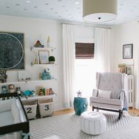 Chevron Knot Rug from west elm and starry ceiling via Reed's Soft, Starry Space Nursery Tour Anderson Anderson Locicero Therapy Family Nursery Themes, Nursery Room, Kids Bedroom, Sky Nursery, Nursery Ideas, Project Nursery, Nursery Decor, Galaxy Nursery, Star Themed Nursery