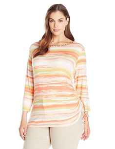 Ruby Rd. Women's Plus-Size Boat Neck 'Sunrise Stripe' Print Knit Top *** Don't get left behind, see this great  product : Women clothing