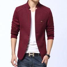 Men's Stand Collar Blazer.