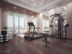 Love the high ceilings and tall windows here. Light is key to a Home Gym | Home Gym Hub Inspiration & Decor