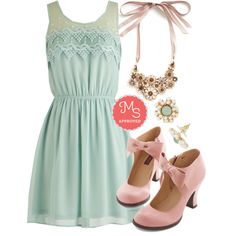 In this outfit; Peach Julep Dress in Mint, Wine and Fine Dine Crystal Necklace in Rosé, Reach for the Moonflower Earrings, Darling Saturday Strut Heel #bows #pinkheels #mint
