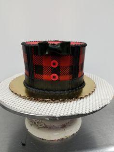 Plaid Lumberjack shirt smash cake for first lumberjack birthday bash