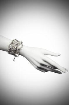 Onda Bridal Bracelet II Silver Black Diamond - Jenny Packham