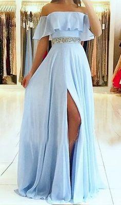 Simple light blue evening dresses from the shoulder Elegant chiffon evening dresses . Stunning Prom Dresses, Pretty Prom Dresses, Chiffon Evening Dresses, Prom Dresses Blue, Dance Dresses, Elegant Dresses, Homecoming Dresses, Sexy Dresses, Summer Dresses