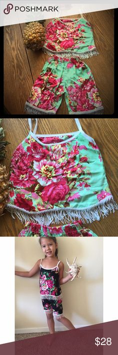 New for 2017 vintage bloomer girls set *last picture shows how it wears!* New for 2017! Our gorgeous summer fringe set for babies and children! Handmade in bali from lightweight rayon cotton with vintage floral design and fringe flow trim. Flow top with adjustable straps and elastic waist bottom for a comfortable universal fit. Such a cute little boho fit! handmade Matching Sets