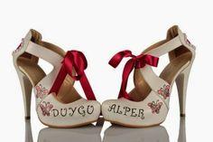 Yazili Gelin Ayakkabilari - http://www.birleydi.com/2014/05/yazili-gelin-ayakkabilari.html#.U4VEqPl_tYQ bridal shoes with printed
