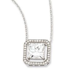 Sterling Silver Cubic Zirconia Brilliant Embers Necklace , Average Weight gm, Width of Item 13 MM, Chain Length 18 inches Holiday Jewelry, Jewelry Gifts, Fine Jewelry, Jewellery, Birthstone Pendant, Diamond Solitaire Necklace, Necklace Types, Sterling Silver Pendants, Accessories