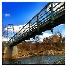Swinging bridge over the Elbow River.