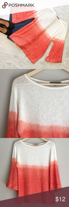 People Like Frank Orange Ombré Sweater People Like Frank orange & white ombré 3/4 bell sleeve sweater.  Size small. GUC small snag in back and line snag in front. Can be seen in pictures above. Very soft! Approximate measurements are 25' long & 19' sleeve. People Like Frank Sweaters