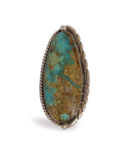 NATIVE AMERICAN NAVAJO MADE GREEN TURQUOISE & STERLING SILVER RING