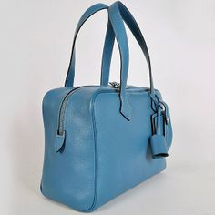 HERMES VICTORIA 35 BAG MED BLUE SILVER - Hermes Victoria - Hermes Bags