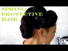 Spring Natural Hair Protective Style ♥ 4c Hair Partially stretched two strand twisted and bobby pinned _ took 13 minutes _ nice