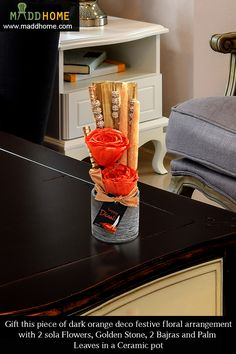 Surprise and delight friends and family with  piece of dark orange deco festive floral arrangement gifts.