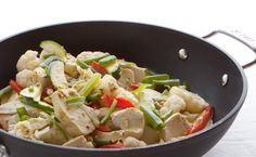 Lunch/Dinner: Epicure's Curried Thai Chicken calories/serving) serve with pita bread and Epicure tzatziki Epicure Recipes, Wok Recipes, Healthy Recipes, Recipies, Lean Meals, Nutritious Snacks, Thai Chicken, Specialty Foods, Meal Planning