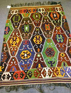 FREE SHIPPING  1960s  Antalya Kilim Rug Carpet by OkcuCarpet