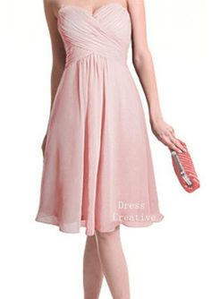 Sweetheart Bridesmaid Dress, Custom Chiffon Empire Waist Blush Pink Short Dress