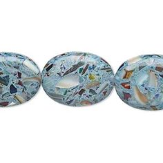Bead, mother-of-pearl and resin (assembled), opaque aqua blue and multicolored, 20x15mm-21x16mm puffed oval. Sold per 15-inch strand. - Fire Mountain Gems and Beads