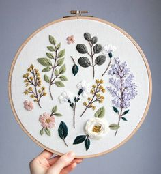 Lilac and cherry blossom/ Floral Embroidery Patterns, Simple Embroidery, Hand Embroidery Patterns, Cross Stitch Embroidery, Paper Embroidery Tutorial, Diy Embroidery Projects, Hungarian Embroidery, Embroidery Sampler, Embroidery Hoops
