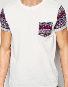 Buy ASOS T-Shirt With Aztec Pocket And Roll Sleeve And Plain Roll Sleeve T-Shirt 2 Pack SAVE at ASOS. Get the latest trends with ASOS now. Polo Tee Shirts, Pant Shirt, Shirt Print Design, Shirt Designs, Motifs Aztèques, Types Of T Shirts, Le Polo, Men's T Shirts, Man Fashion