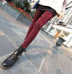 Women New Laser Cut Velvet Floral Legging Pants Pleuche Hollow Legging in Clothing, Shoes & Accessories   eBay