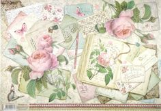 Rice Paper for Decoupage Decopatch Scrapbook Craft Sheet Book with Roses